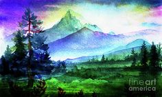 Hill Art Print featuring the mixed media Purple Mountains Majesty by Digital Art Cafe Canvas Prints, Framed Prints, Art Prints, Purple Mountain Majesty, Thing 1, Mountain Landscape, Watercolor Illustration, All Art, Fine Art America