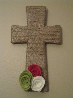 Twine Wrapped Cross with Interchangeable Felt by TurtlesandTiaras, $20.00