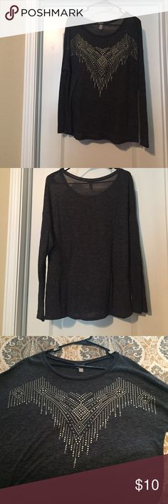 Thin Long Sleeve Sweater Shirt Vanity long sleeve shirt. Color in Gray with silver beeding along the front. Size is XL, only been worn once. Perfect condition. Vanity Tops Sweatshirts & Hoodies