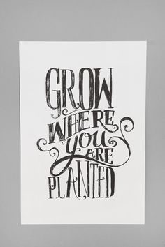 Grow where you are planted- hand lettered poster- Matthew Taylor Wilson Grow Where You Are Planted Art Print