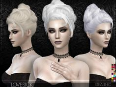Lovesick (Female Hair): Download18 colorsHat supportAll LOD'sTeen through elderSmooth weighting Lady Gaga AHS hairstyle! Happy Halloween :)________________________________________________Sims 4
