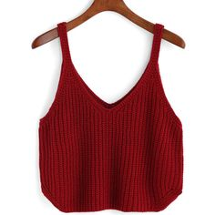 V Neck Knit Red Cami Top (€7,70) ❤ liked on Polyvore featuring tops, red, v neck vest, v-neck tank, red top, red tank top and v neck tank