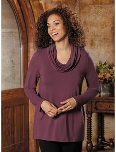 Comfortable & stylish plus size Cowl Neck Viscose Spandex Knit Top by Ulla Popken for fall fashion. | #Sonsi