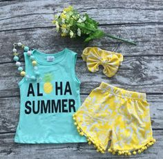 Aloha Pineapple Summer Outfit and Accessories – TrendyKidzBoutike