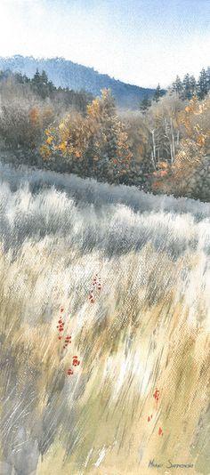 Watercolor painting of an autumn mountain landscape by watercolorist Michał Suffczyński (Poland).  #watercolor #landscape #art #watercolour