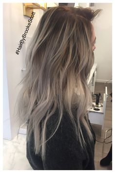 Balayage dark root gray hair with tape in extensions