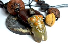 Ancient Chinese Hongshan culture Jade Cicada by FortuneJadeJewelry, £121.00