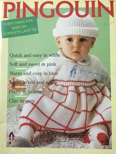 "T 94 BABY/'S MATINEE COAT~BONNET~DOUBLE KNITTING~SIZE 14-20/"" KNITTING PATTERN~"