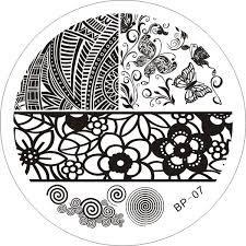 Born Pretty stamping plate BP-07 buffet flowers border circles butterfly mandala