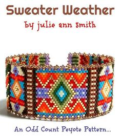 You are purchasing an odd count peyote digital pattern....NOT THE ITEM IN THE PHOTO!! With FALL looming in my mind, I've created SWEATER WEATHER! Fall is simply my most favorite time of the year. For me, it brings on afternoons sitting at the coffee bar, Chai tea in hand, good fellowship with a good friend and a warm sweater! I am a knitter and I have created many a sweater over the years. I have gathered those any sweaters into this design, Chai tea beside me! I hope you enjoy this one…