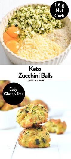 Cheesy Zucchini Balls easy Keto Snacks - Sweetashoney - New Ideas Ketogenic Recipes, Low Carb Recipes, Diet Recipes, Healthy Recipes, Ketogenic Diet, Smoothie Recipes, Bread Recipes, Keto Veggie Recipes, Diet Desserts
