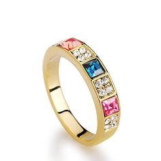 slim delicate gold-plated sparkling crystal beaded ring