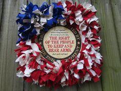 2nd Amendment Wreath Patriotic Wreath American Flag Wreath Second Amendment Wreath Rag Wreath Fabric Wreath