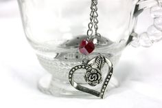 Heart Shaped Tea Infuser with Rose heart and Red Chinese Cut Crystal