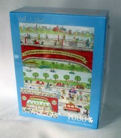 Kathy Weller Puzzle Dogs French Community Bridge Town 1000 Whimsical FREE SHIP