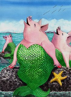 Merpigs Painting - Merpigs Fine Art Print