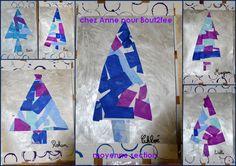 fond empreintes de ronds et peinture brillante, collage de papiers de soie