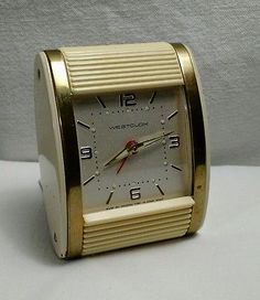 Vtg Deco Travel Alarm Clock Westclox Bakelite Rolltop Tested