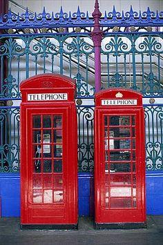 Red telephone boxes, London, England, United Kingdom, Europe