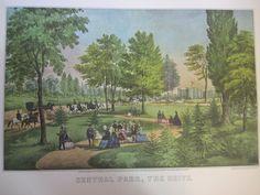 Vintage Currier & Ives America Color Print, Central Park, The Drive