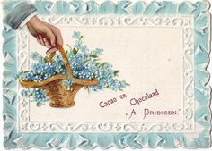 chromo cacao driessen - hand at left holding basket of fogrget-me-nots Art Cards, Vintage Cards, Decoupage, Moose Art, Basket, Display, Graphic Design, Chocolate, Paper