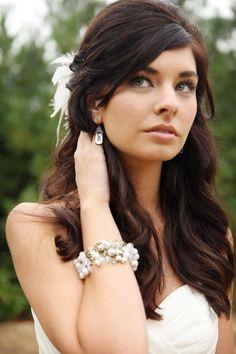 Half up romantic wedding hair