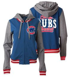 Chicago Cubs Women's Zip Front French Terry Hoodie