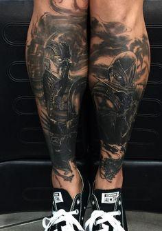Black and Gray Mortal Kombat Tattoo