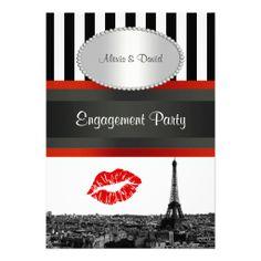 Paris Skyline BW Stripe Red Kiss PV Engagement Custom Invitations