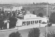 The Pacific Electric Railway depot, Torrance, built 1912, Irving J Gill, architect   |  photo taken before 1916.   Irving Gill's simple but elegant  depot at 1250 Cabrillo Avenue  served Red Car passengers on this Torrance spur from the Gardena line.The building was topped off with a gold dome, and included an outdoor cigar stand.