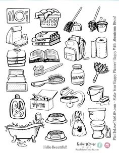 Hand drawn chore icons printable - plan to love this life note doodles, simple doodles Doodle Drawings, Easy Drawings, Doodle Art, Doodle Design, Sketch Note, Funny Expressions, Cute Doodles, Simple Doodles, Design Set