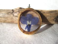 Real Blue Lobelia and Wood pendant by OonaCreation on Etsy