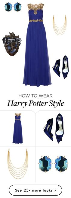 """Ravenclaw Yule Ball Outfit VIII"" by getmetohogwarts on Polyvore featuring Kendra Scott, Notte by Marchesa, Christian Dior and White House Black Market"
