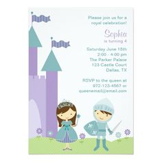 Twins Birthday Party Invitations Princess and Knight Invitations