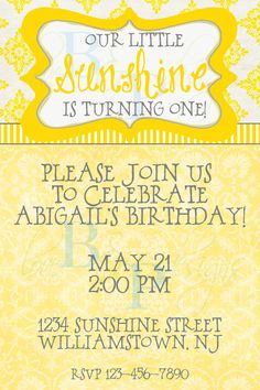Our Little Sunshine  Birthday Invitation by lovebandpdesigns, $15.00