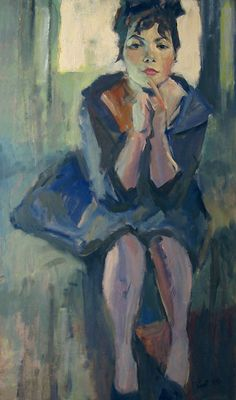Portrait of Young Model (1959).Lev Alexandrovich Russov(1926-1988). Oil on board.