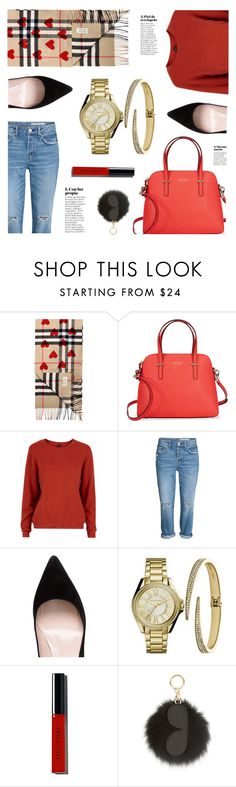 """Holiday Red"" by jomashop ❤ liked on Polyvore featuring Y.A.S, Kate Spade, Bobbi Brown Cosmetics, MICHAEL Michael Kors, red and holiday"