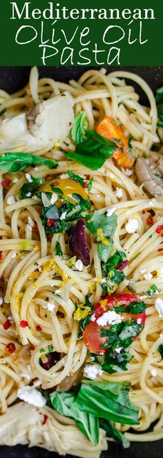 Simple Mediterranean Olive Oil Pasta | The Mediterranean Dish. A favorite and super light pasta dish where the sauce is quality extra virgin olive oil with garlic. Adding parsley, tomatoes and couple more Mediterranean flavors makes this dish the perfect  fast diet recipes