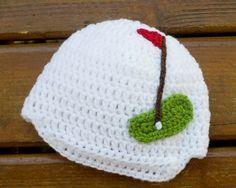 BABY GOLF BEANIE Crocheted Peaked Cap, Boy Golf Photo Prop, Golf Baby Knit Hat, Baby Boys Golf Hat, White Newborn Golf Hat, Golf Baby Gift
