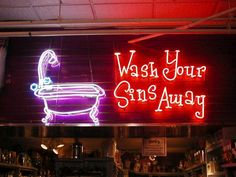 'WASH YOUR SINS AWAY' NEON SIGN ๑෴MustBaSign෴๑