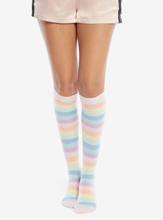b3ae69cf1 Pastel Rainbow Striped Knee-High Socks