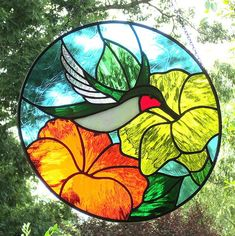 Stained Glass Hummingbird Suncatcher Ruby Throated with Yellow Orange Flowers Stained Glass Church, Stained Glass Flowers, Faux Stained Glass, Stained Glass Projects, Stained Glass Windows, Stained Glass Patterns Free, Stained Glass Designs, Fleur Orange, Glass Wall Art