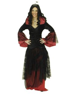 Spinnen-Königin Hexe Damen-Kostüm schwarz-rot