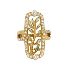 Gold, Plique-a-Jour Enamel and Diamond Ring, Masriera