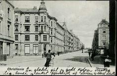 Christiania Kristiania Oslo SKOVVEIEN. Parti med store leiegårder, og noen spaserende Utg Wilse/P Alstrup, postgått 1907