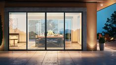 landscape architecture - Modern, contemporary dark framed patio doors Introducing Trinsic™Series The contemporary design with a narrow frame offers a maximum view for any modern home Ornamentation is kept at a minimum to focus on indooroutdoor living C Modern Patio Doors, French Doors Patio, Contemporary Patio Doors, Double Sliding Patio Doors, French Windows, Bi Fold Patio Doors, Bi Folding Doors, Farmhouse Patio Doors, Bifold Doors Onto Patio
