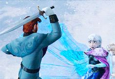 Anna's ice form is so cold, that it actually starts to freeze Han's sword as it gets closer to her hand. I never knew why it broke but now I do. It's so beautiful and terrifying at the same time. Which would make sense why Elsa could touch her because with her powers the cold/ice wouldn't bother her. But if anyone else touched Anna her frozen form might have hurt them. that means Elsa went from being the only person who couldn't touch Anna to the only person who could.