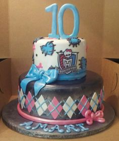 Monster high cake (Like the hearts on the top cake and the bows)