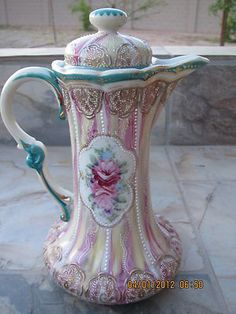 Heavy Moriage on lovely Victorian Chocolate pot ~ LOVE it!