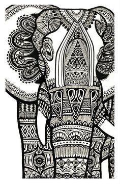 Free coloring page coloring-elephant-te-print-for-free. A magnificien elephant drawn with zentangle patterns FROM Coloring Pages for adults Adult Coloring Pages, Coloring Books, Free Coloring, Elephant Decoration, Doodles, Elephant Art, Elephant Sculpture, Zentangle Elephant, Henna Elephant